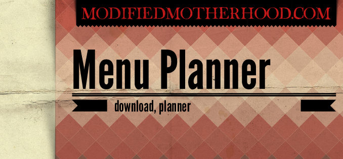 Half Sheet Menu Planner
