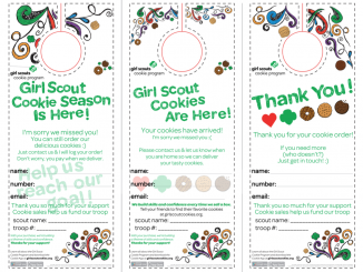 Girl Scout Cookie Door Hanger Printable