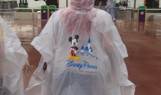 rain, Disney, poncho, playing