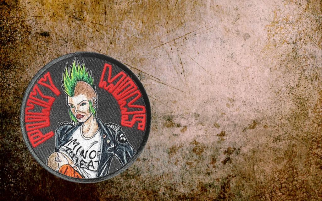Punky Moms, sticker, red, patch, Minerva, breastfeeding Minor Threat, punk, punk rock mom, mohawk
