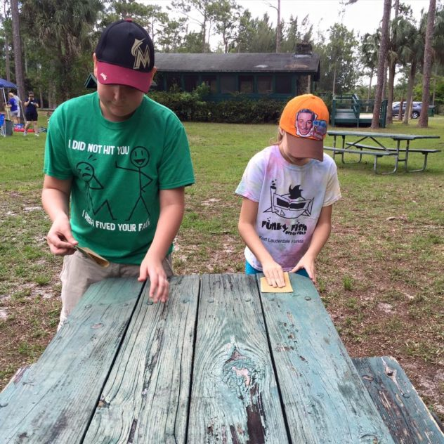 Sanding the Tables, Troop 10434 Bronze Award Work. My Boy Scout was there volunteering too!