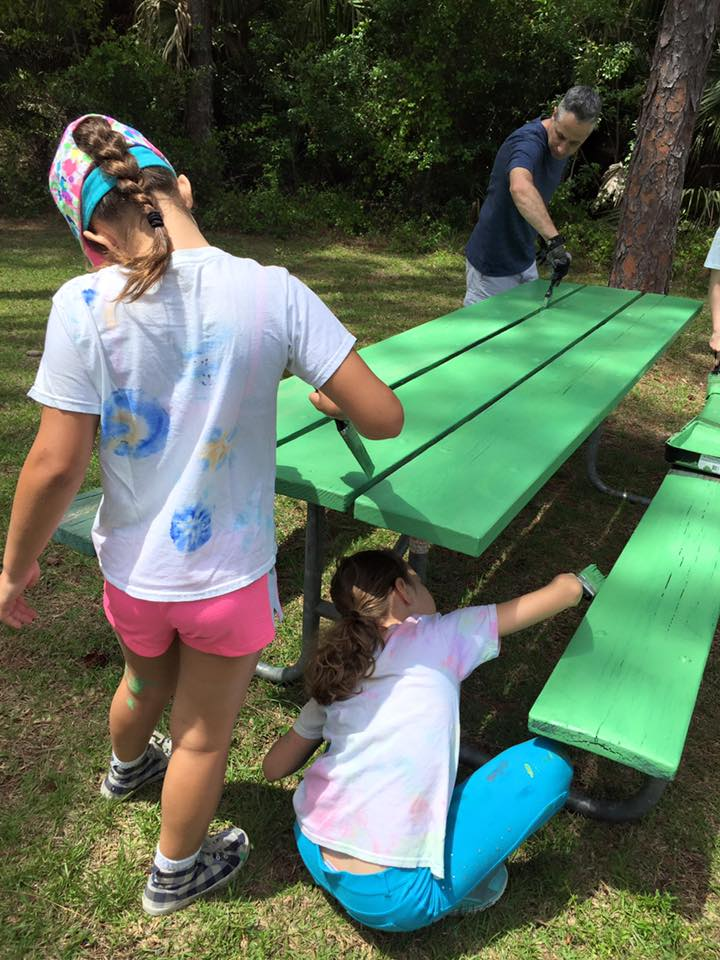 Painting the Tables Girl Scout Green, Troop 10434 Bronze Award Work. And.... she lost her hat.