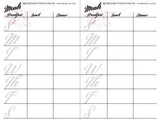 blank meal menu planner