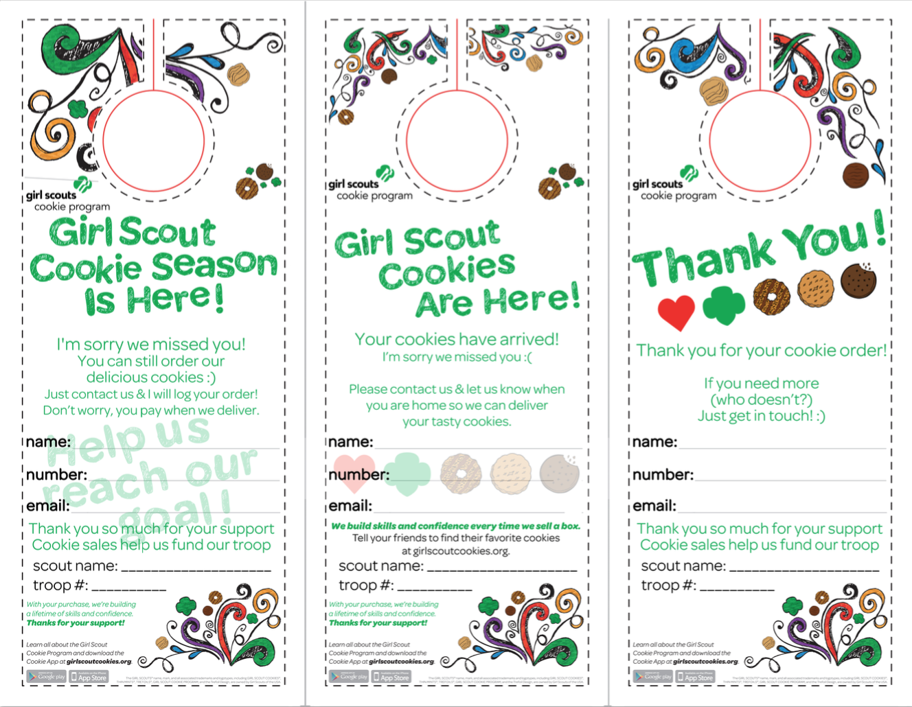 graphic regarding Girl Scout Cookie Thank You Note Printable called Absolutely free Female Scout Cookie Printable Up-to-date 2019! Changed